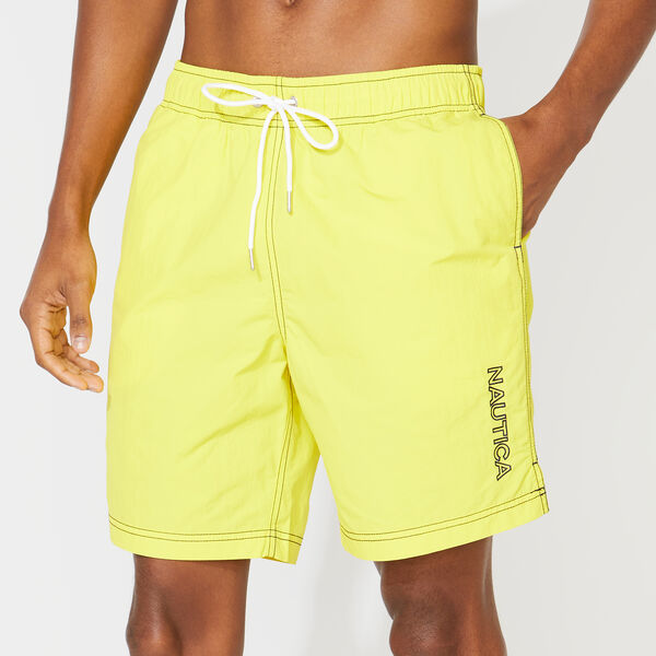"8"" SOLID EMBROIDERED LOGO SWIM TRUNKS - Blazing Yellow"