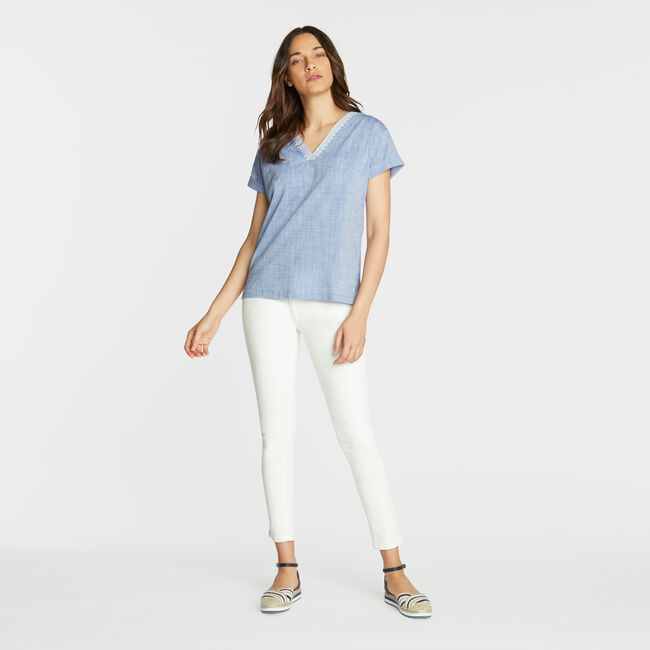 Short Sleeve Embroidered Woven Top,Bayberry Blue,large