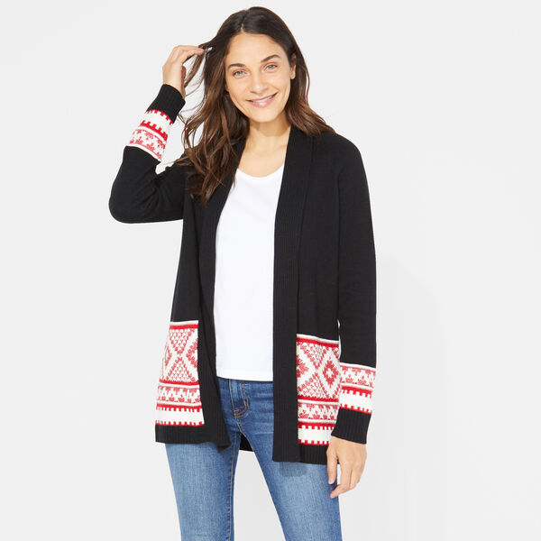 LONG SLEEVE AZTEC PATTERN CARDIGAN - True Black