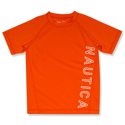 Little Boys' Anthony Pinhole Mesh Rashguard (4-7) - Sun Orange
