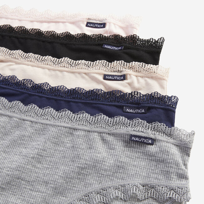 LACE-TRIMMED RIBBED HIPSTER BRIEF, 5-PACK,Navy,large