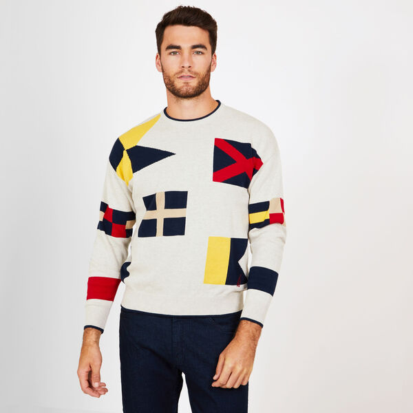 Graphic Signal Flag Crewneck Sweater - Oatmeal
