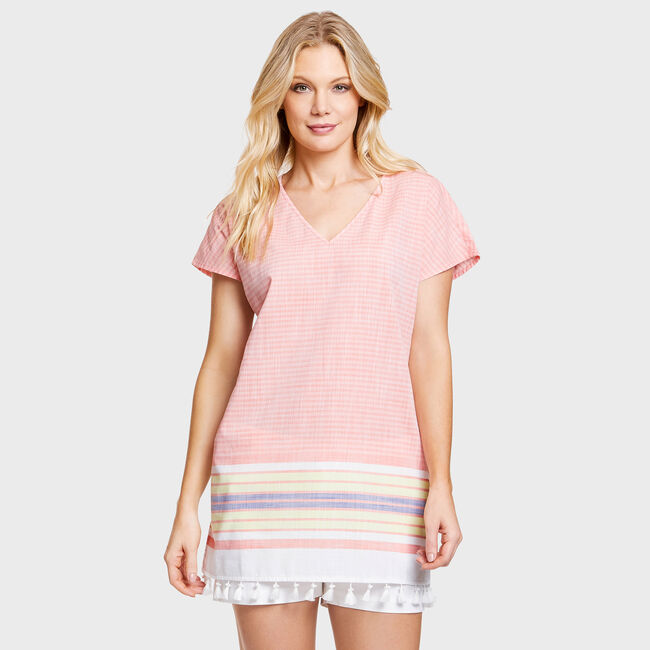 Breeze Yarn Dyed Stripe Tunic Cover-Up,Livng Coral,large