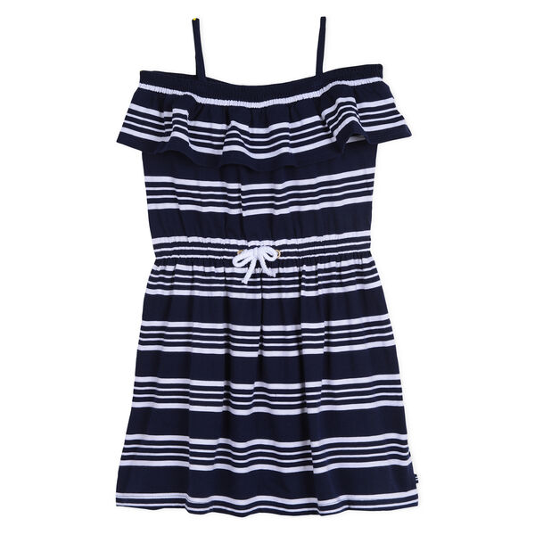 Girls' Jersey Blouson Dress in Stripe - Navy