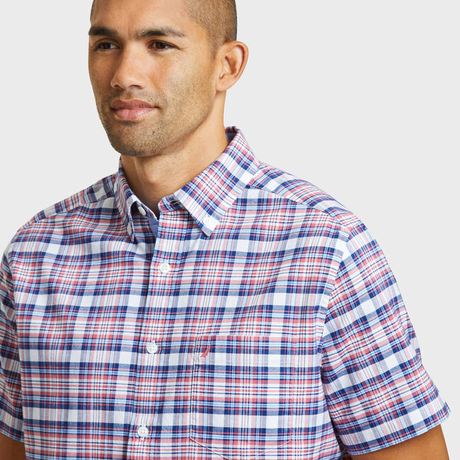 SHORT SLEEVE CLASSIC FIT SHIRT IN OXFORD PLAID,Coral Cape,large