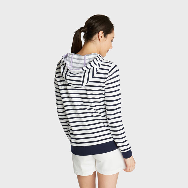 FRENCH TERRY HOODIE IN BRETON STRIPE,Bright White,large