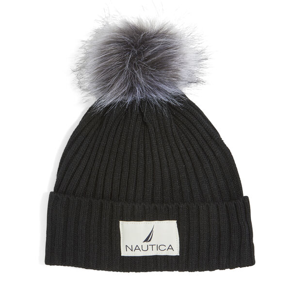 RIBBED HAT WITH FAUX FUR TRIM - True Black