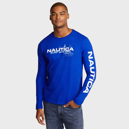 SURFER BACK GRAPHIC LONG SLEEVE TEE - Bright Cobalt