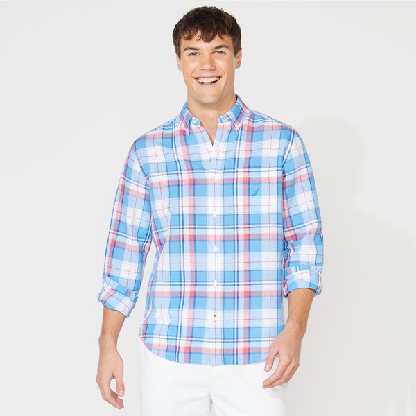 CLASSIC FIT PLAID LINEN SHIRT - Bright White