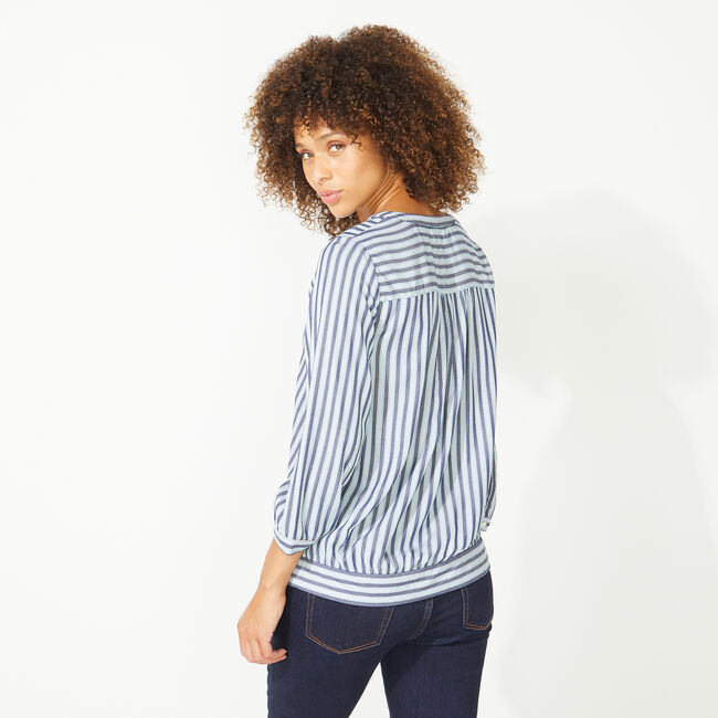 NAUTICA JEANS CO. STRIPE WRAP TOP,Blue Depths,large
