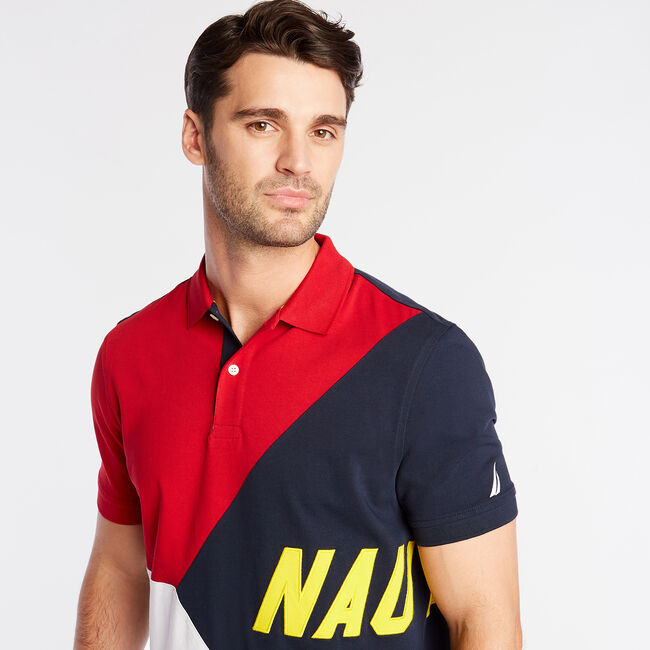 CLASSIC FIT JERSEY POLO IN DIAGONAL COLORBLOCK,Nautica Red,large