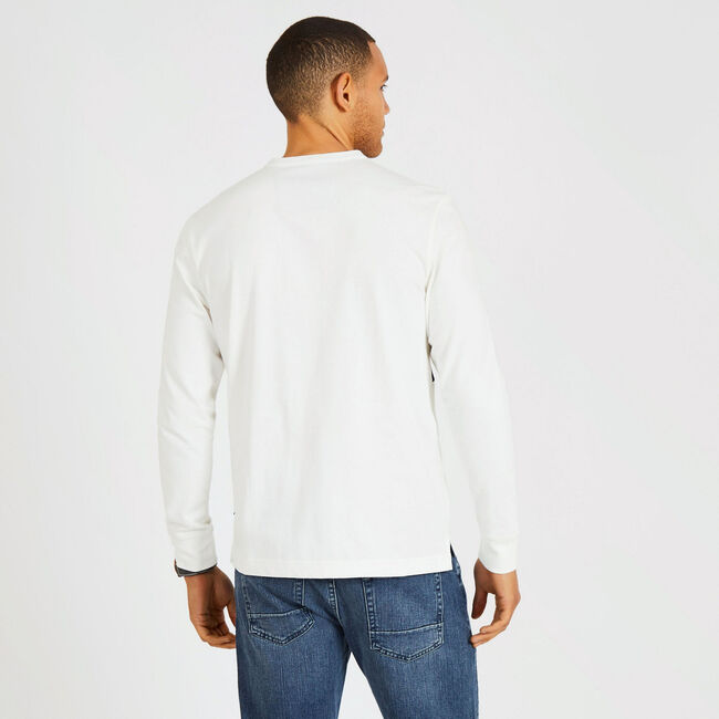 Long Sleeve Colorblock Henley,Marshmallow,large