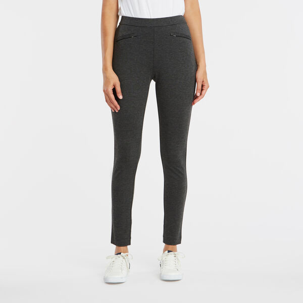 PULL ON HEATHER PONTE ANKLE PANTS - Dark Black Heather