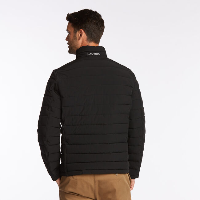 BIG & TALL STRETCH REVERSIBLE PUFFER,Black,large