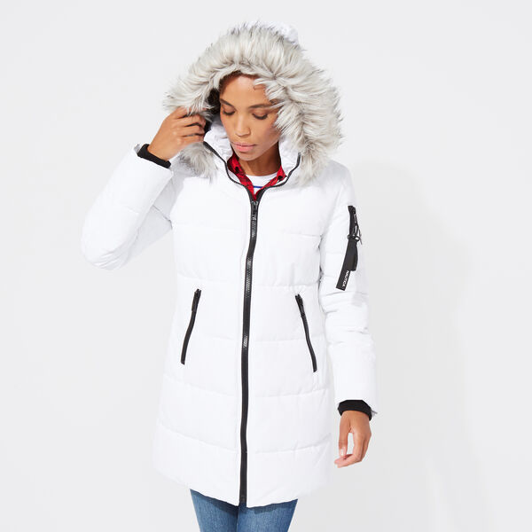 WOMEN'S QUILTED PUFFER COAT  - Bright White