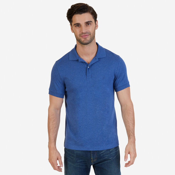 Slim Fit Solid Interlock Cotton Polo - Blue Indigo Heather