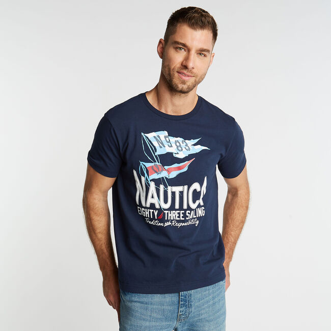 JERSEY T-SHIRT IN '83 SAILING GRAPHIC,Pure Dark Pacific Wash,large
