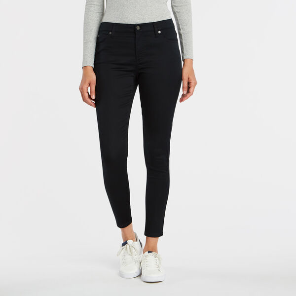 MID RISE SKINNY SATEEN PANT - True Black