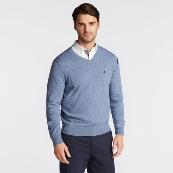 BIG & TALL V-NECK NAVTECH SWEATER - Anchor Blue Heather