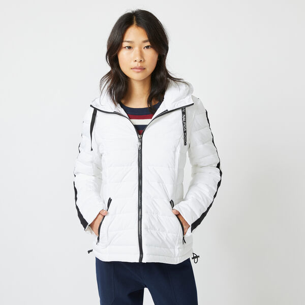 WATER-RESISTANT PACKABLE STRETCH HOODED COAT - Bright White
