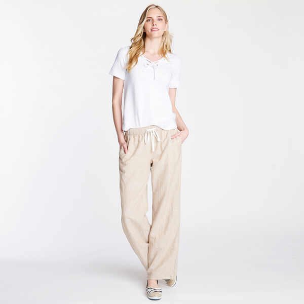 WIDE LEG LINEN PANTS - Dark Brown