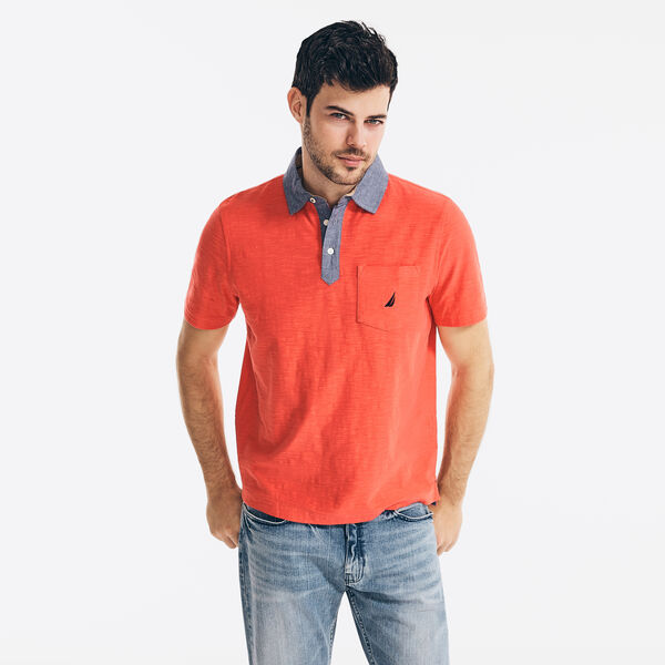 CLASSIC FIT CHAMBRAY COLLAR POLO - Seaside Red