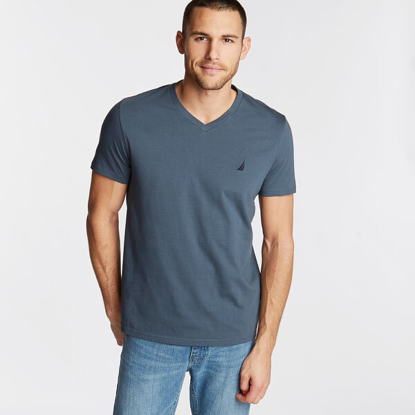 V-Neck Short Sleeve T-Shirt - Runway Grey
