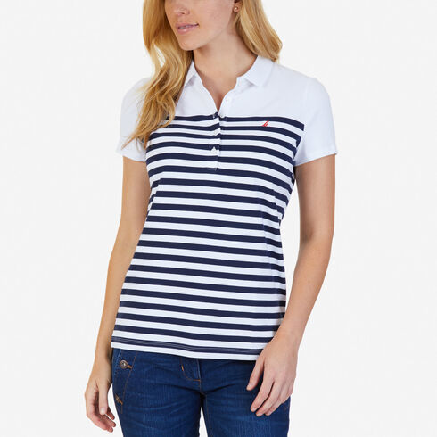 Striped Classic Fit Polo Shirt - Bright White