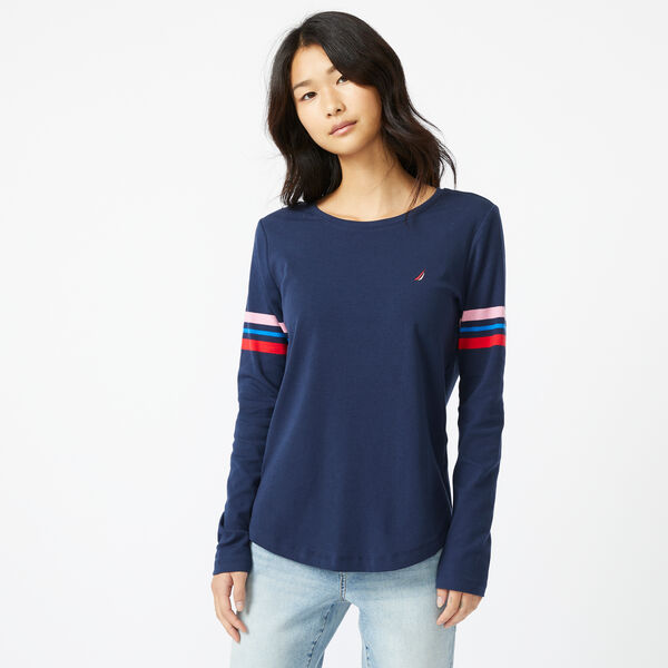 SUSTAINABLY CRAFTED STRIPE-SLEEVE TOP - Stellar Blue Heather