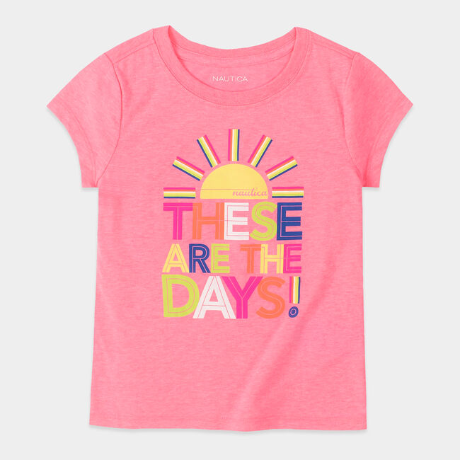 GIRLS' THESE ARE THE DAYS GRAPHIC T-SHIRT (8-20),Lt Pink,large