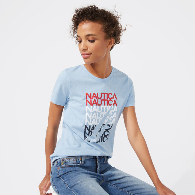 NAUTICA REPEAT JCLASS GRAPHIC TEE,Tugboat Blue,large