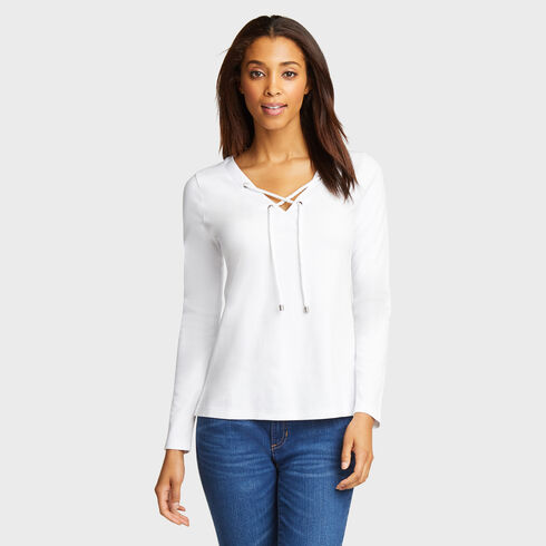 Long Sleeve Lace-Up V-Neck Top - Bright White