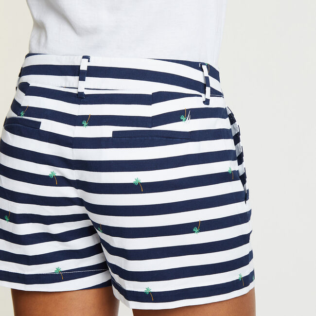 "Stripe + Palm Tree Shorts - 4"" Inseam,Bright White,large"