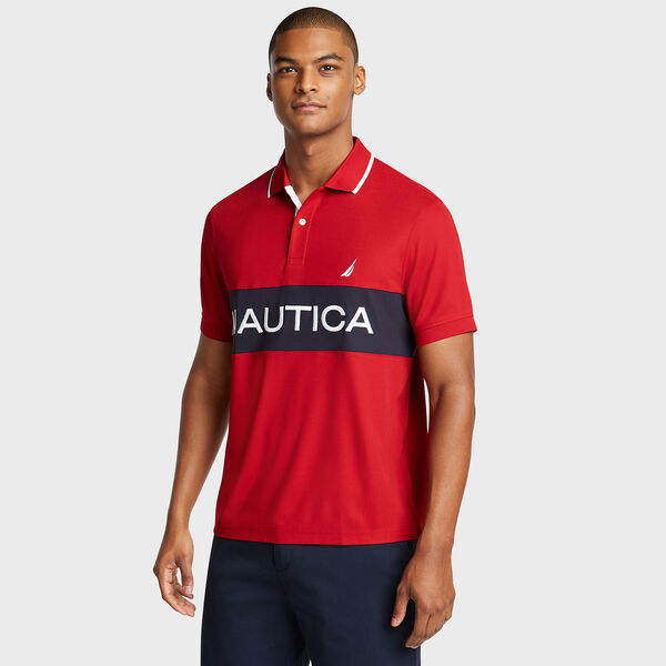 Classic Fit Colorblock Performance Polo - Nautica Red