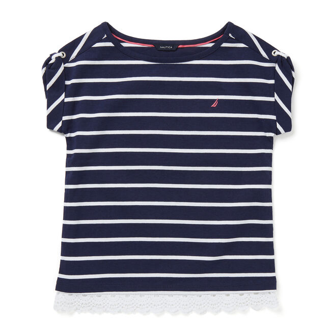 Little Girls' Striped Top with Crochet (4-6x),Navy,large