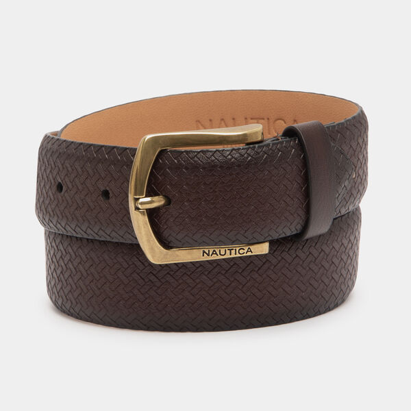 BASKETWEAVE BELT - Brown Stone