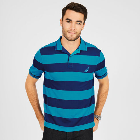 Slim Fit Short Sleeve Pique Striped Polo - Bright Blue Jig