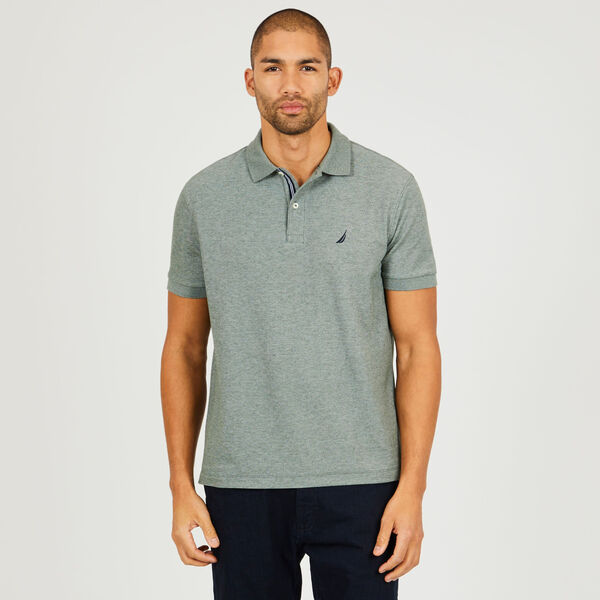 BIG & TALL STRETCH MESH POLO - Pine Forest Heather