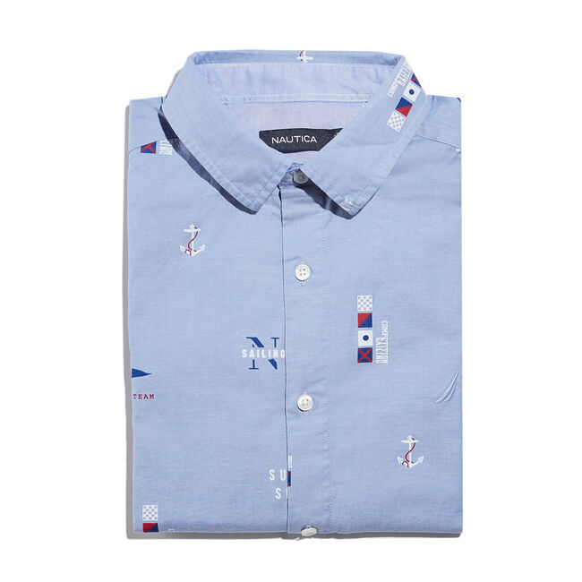 CLASSIC FIT STRETCH OXFORD IN MARITIME ICON PRINT,Aquasplash,large
