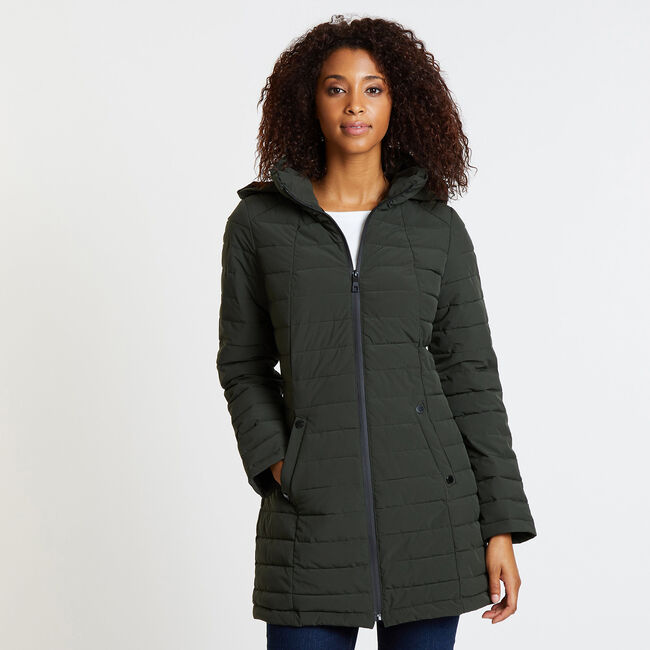 Stretch Midweight Puffer Jacket,Light Olive,large