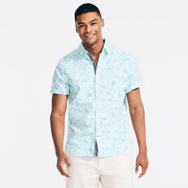 FISH PRINT SHORT SLEEVE SHIRT - Alaskan Blue