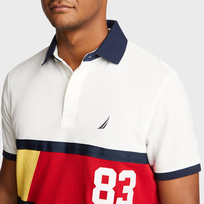 Classic Fit Tech Polo with Colorblock Stripe,Marshmallow,large