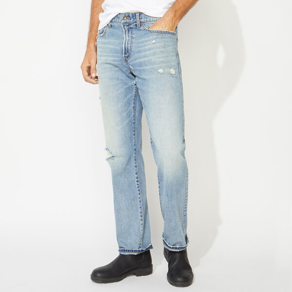NAUTICA JEANS CO. RELAXED FIT DENIM IN DISTRESSED BLUE - Distressed Blue Wash