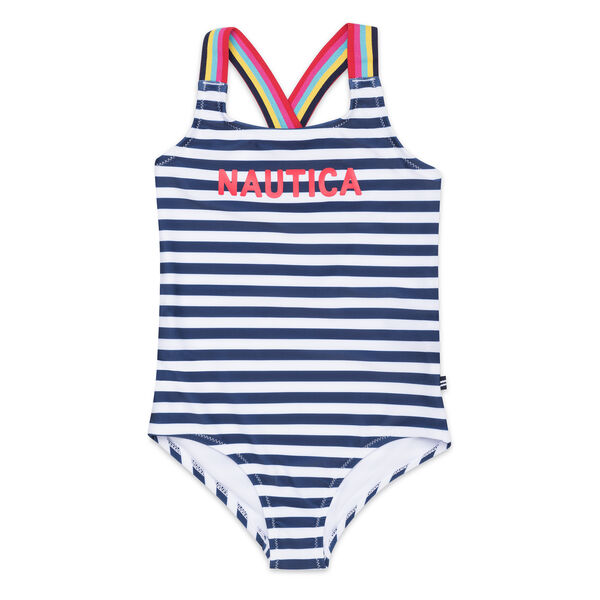 Girls' Logo One-Piece Swimsuit in Stripe - Navy
