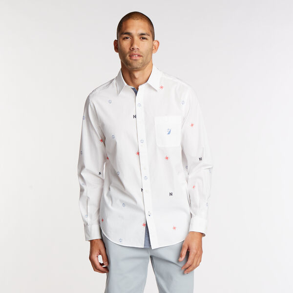 Print Long Sleeve Classic Fit Shirt - Bright White