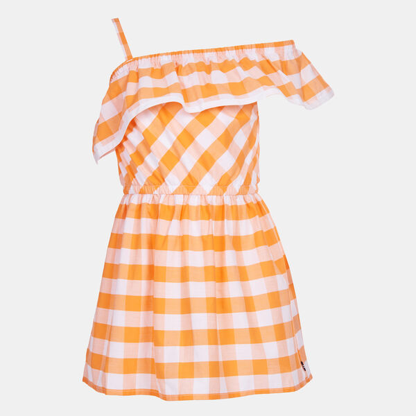 LITTLE GIRLS' GINGHAM RUFFLE ONE SHOULDER DRESS (4-7) - Life Vest Wintl
