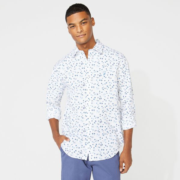 CLASSIC FIT FLORAL PRINT SHIRT - Bright White