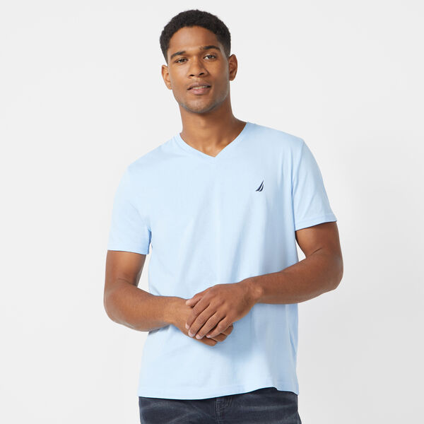SOLID V-NECK T-SHIRT - Noon Blue