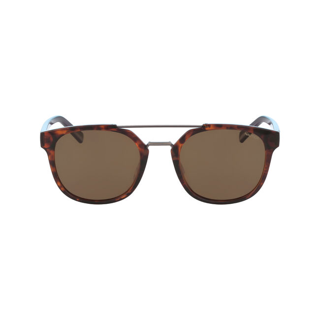 Round Sunglasses with Brow Bar,Sable Heather,large