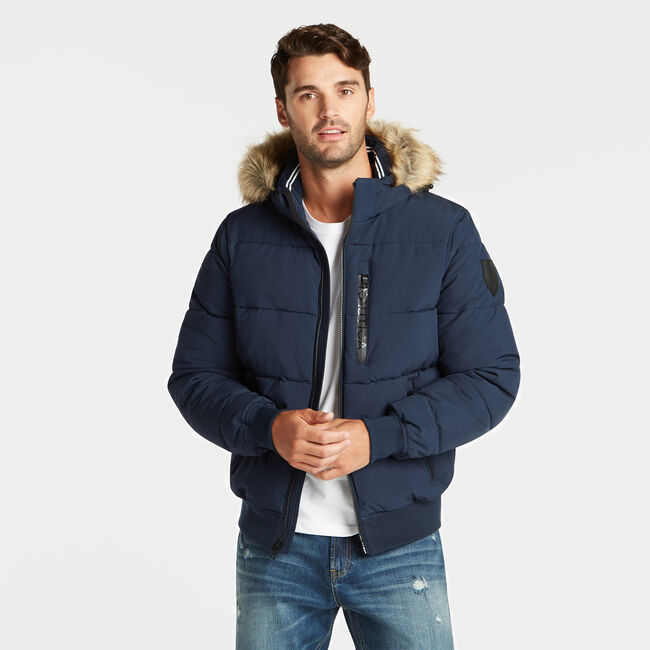 STRETCH BOMBER WITH REMOVABLE HOOD,Pure Adriatic Sea Wash,large